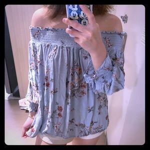 Zara floral off shoulder top blouse